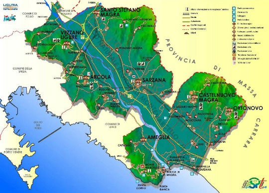 Map of Val di Magra Liguria Italy