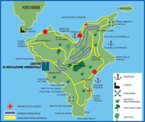 Liguria Riviera Italy - Golfo dei Poeti Island of Palmaria Hiking Trails Map