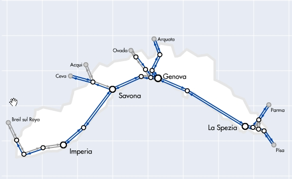 Railroad Map Of Italy.Travel To Liguria By Train