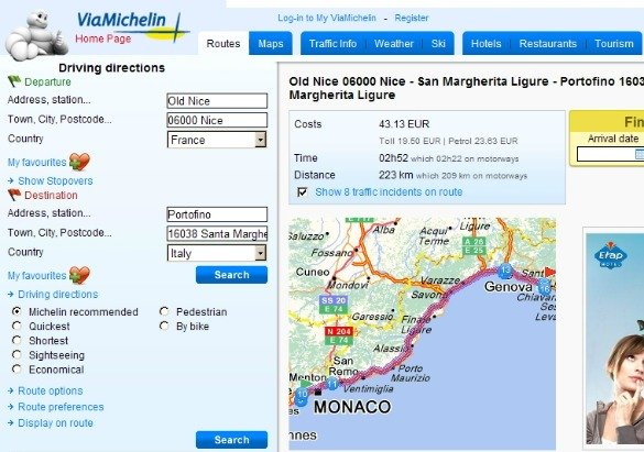 Michelin Nice Portofino Route