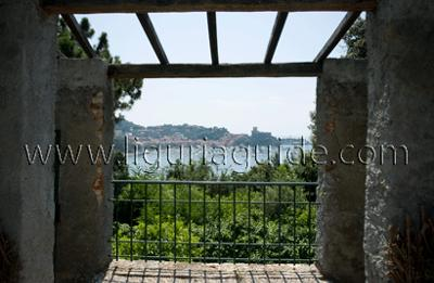 The garden grounds of the Villa over spectacular views over the Bay of Lerici