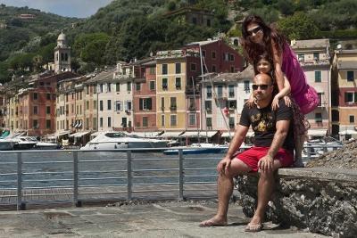 A family's photo at Portofino's Port